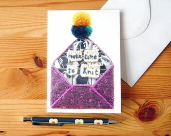 Greeting Card - Fun Knitting Card - Textile-Art Envelope - Digital Print - Anytime Card
