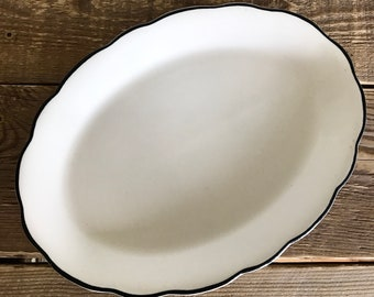 Vintage Buffalo China Oval Platter with Black Rim