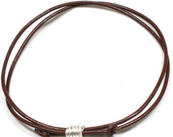Mens /Ladies Solid Silver Spiral and Leather Cord Anklet