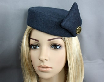 Pill Box Party Hat, Flight Attendant, PanAm or Stewardess Accessory in many colors