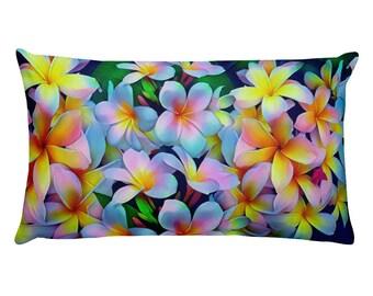 Hawaiian Tropical Plumeria Frangipani Multi-Color Rectangular Pillow