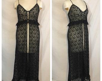 Vintage 1980's Black Lace Cover Up