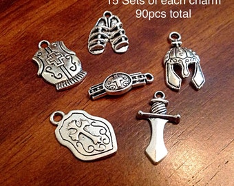 15 sets or 15 each of these Armor on God Charms, Full Armor Of God Charms, 15 each of the Belt, Shield, Breastplate, Helmet, Sword, Shoes