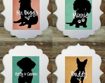 Statement Pet Name Art Prints - Choose a breed and a name - Custom Pet Art