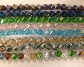 nugget crystal beads,glass,  faceted, 10mm, 27beads