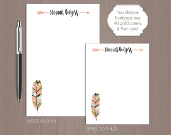 Feather Notepad . Arrow Notepad . Tribal Notepad . Personalized Note Pad . Boutique . Custom Notepad . Teacher Gift . Boho . Gift For Mom