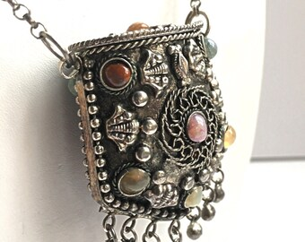 Vintage Boho Purse Necklace - Silver tone with Semi Precious Stones - Bohemian Metal Pouch on Long Chain