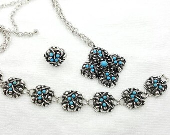 Avon Sierra Bracelet Pendant Ring 1975 Turquoise Mint Never worn Southwest Chic