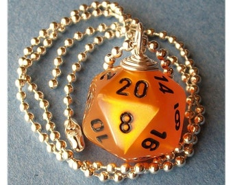 Dungeons and Dragons - D20 Dice Pendant - Velvet Orange - Geek Gamer DnD Role Playing RPG