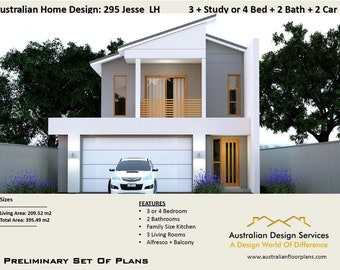 295 m2 /4250 sq feet/ 4 Bed or 3Bed + Office / Narrow 2 Storey design/Narrow Lot plan/House Plans For Sale