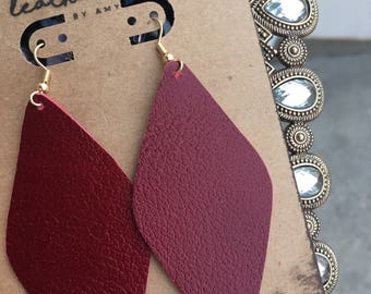Ruby Red Leather Earrings