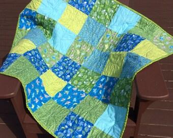 Blue /Green Bird & Leaf Crib quilt