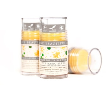 Lotion Bar - The Basic Blend - Beeswax, Cocoa Butter, Mango Butter - All Natural Lotion Bar Tube