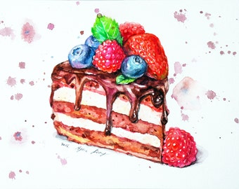 Chocolate Cake Original Watercolor Painting, Miniature Food Painting, Whimsical kitchen Art, Dessert Wall Art, Kitchen Decor, Cake Illust