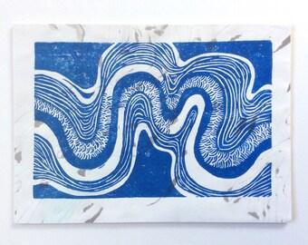 linocut - RIVERBEND // 5x7 art print // printmaking // block print // blue // river, stream // nature art // small // original // wall art