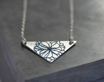 Silver geometric pendant necklace, sterling silver necklace, enamelled necklace