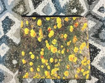 California Poppy Flower Zipper Pouch, Makeup Bag