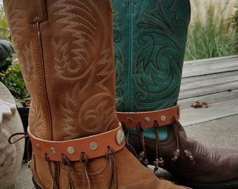 Boot Bling!! Genuine Leather, Dangle beads, Silver conchos, handmade. It's beatiful!!