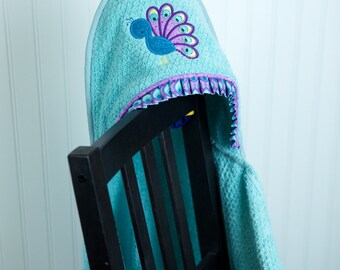 hooded towel light aqua peacock bird appliqué infant child girl gift personalized
