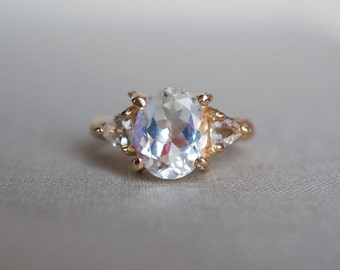 One in a Trillion Moonstone & Topaz Ring in Gold