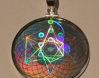 EMF Protection Sacred Geometry Hologram Pendant - Sterling Silver