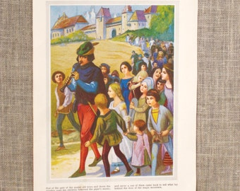 Antique Fairy Tale Book Plate, Pied Piper, Color Plate, Childrens Story, Ephemera, Loose Art, Paper, Art Supplies, Craft Supply