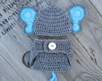 Gray Blue Newborn Baby Elephant Hat and Diaper Cover Set Photography Prop Elephant Newborn Baby Outfit Crochet Elephant Costume