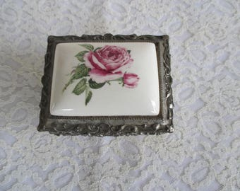 Vintage Silver Trinket Box with Porcelain Inlay