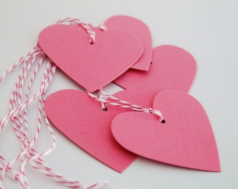 Pink Heart Gift Tags, Wedding Shower Favor Tags, Candy Bar Tags, Valentine's Day Hearts for Gifts, Pink Baby Shower Tags