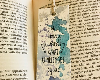 Handmade bookmark, abstract watercolour bookmark, customisable quote bookmark