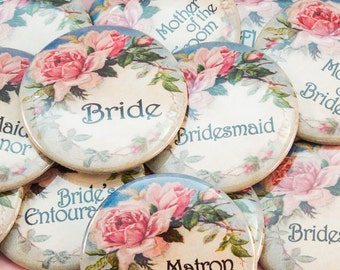"2.25"" Vintage Floral Bachelorette Party Buttons"