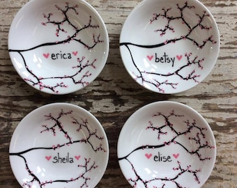 Gift for Her, Cherry Blossom Jewelry Dishes - Set of 4 Personalized Jewelry Bowls, Mothers Day Gift, Ring Dishes Ring Bowls, Cherry Blossoms
