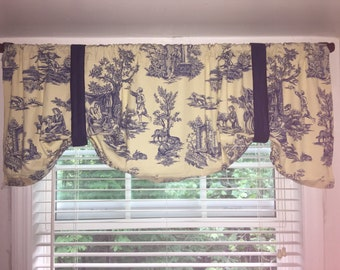 """Toile window valance, blue and light yellow toile valance, Exclusive by Duralee Fabrics """"Toile"""". French window valance"""
