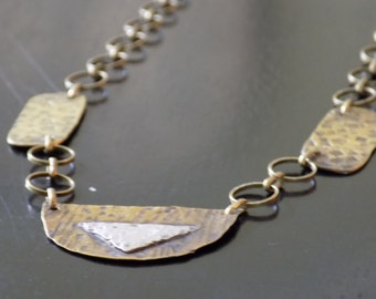Antiqued Brass Necklace with Sterling Silver Accent