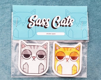 Sassy Cats 4 Sticker Bundle, cat lovers, gifts for cat lovers, cat stickers
