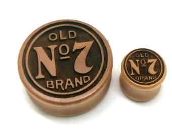 Pair of Jack Daniel No 7 Engraved Plugs [Cherrywood / Wood Stretchers 10mm - 60mm] Price Per Pair