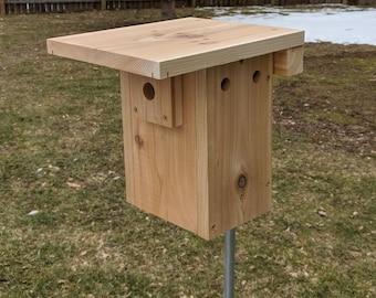 Cedar Wren Bird House (Nesting Box) for House Wren, Xbox design, Natural