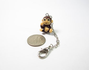 Monkey Planner Charm, Planner accessories, animal lover gifts for her women, bag zipper pull, polymer clay, friend gifts travelers notebook