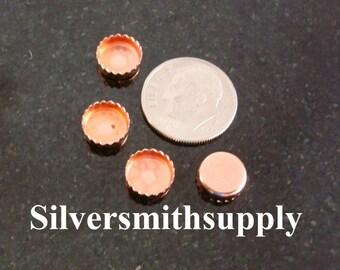 Bezel cups copper 8mm round machine made serrated edge 4 bezel cups BC026