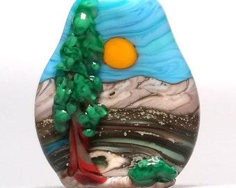 Sculptural Tree & Landscape - Artisan Handmade Lampwork Glass Focal Sun Bead - SRA