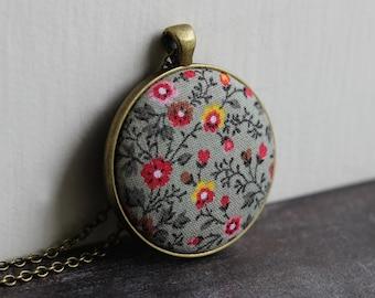 Hippie Jewelry, Sage Boho Necklace, Vintage Fabric Pendant