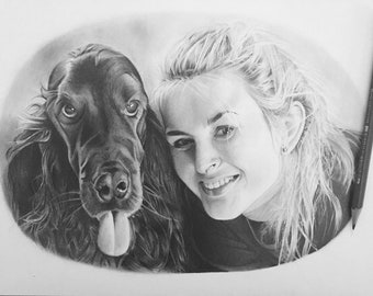 Custom 2 subject portrait drawn in graphite from your photograph.