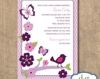 Baby Shower, Lambs and Ivy, Plumberry, Baby Shower Invitation, 5X7, PRINTABLE