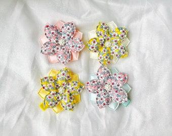 Flower hair clips girls hair clips flower patterned fabric hair clip baby girls hair clips baby hair clips girls hair bows