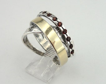 925 Sterling Silver & 9k yellow gold ring, Red Garnet ring, wedding band, size 8, Israeli Jewelry, Fine Ring, Red Stone Gold Ring (ms 788r)