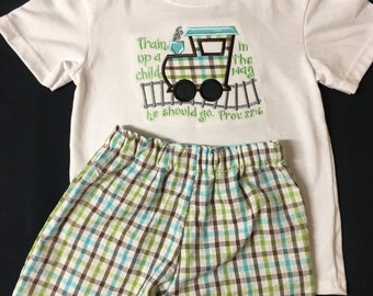 Baby Boy Appliqued Train Up A Child Shirt and Plaid Shorts Set Toddler Boy Short Set Plaid Shorts Train Applique