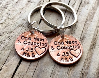 One Year & Counting Personalized Penny Keychains Custom Gift for Him, Her, Hand Stamped Anniversary Gift For Couples, His And Hers Keychains