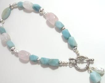 Amazonite avec Quartz Rose et le collier de perles