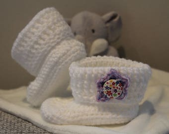 Cute as a Button Baby Booties | Crocheted Crib Shoes | Buttoned Baby Shoes