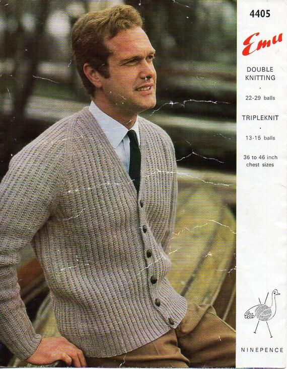 Mens Knitting Pattern Pdf Dk Or Chunky Mens Cardigan Ribbed